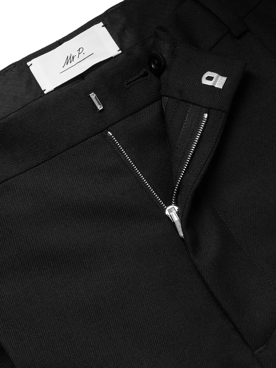 Mr P. Tapered Pleated Black Worsted-Wool Trousers