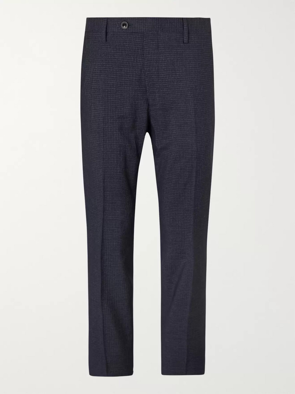 Mr P. Slim-Fit Navy Checked Super 100s Wool-Blend Trousers