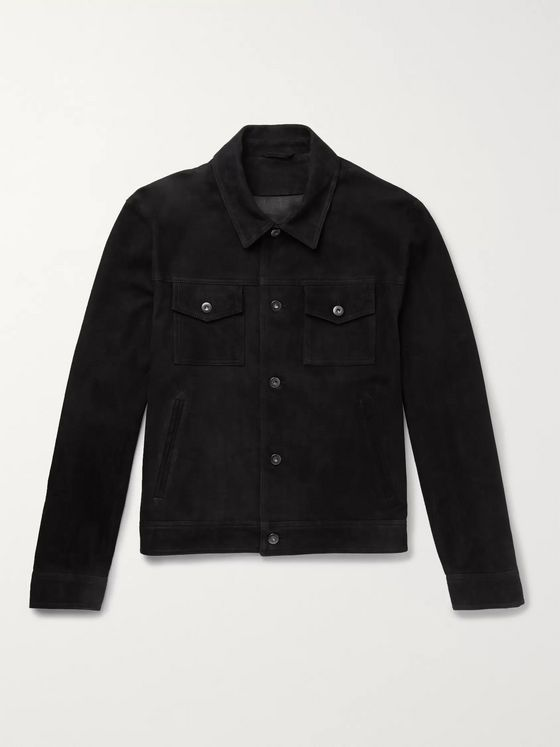 Mr P. Slim-Fit Suede Trucker Jacket