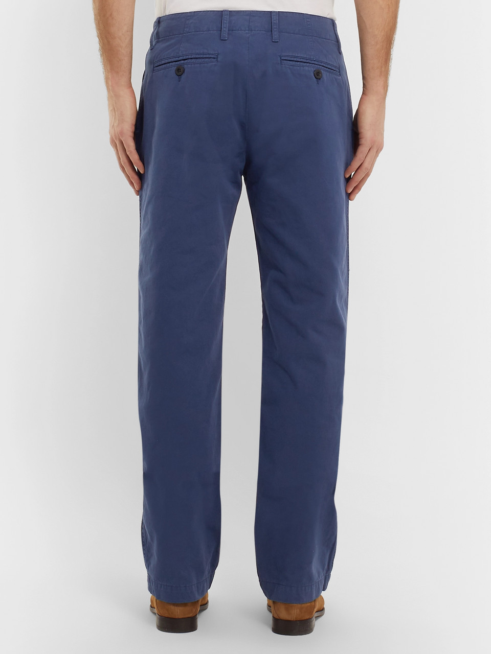 Mr P. Wide-Leg Blue Garment-Dyed Peached Cotton-Twill Suit Trousers