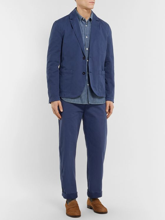 Mr P. Wide-Leg Garment-Dyed Cotton-Twill Chinos