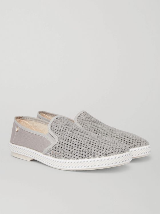 Rivieras Canvas and Cotton-Mesh Espadrilles