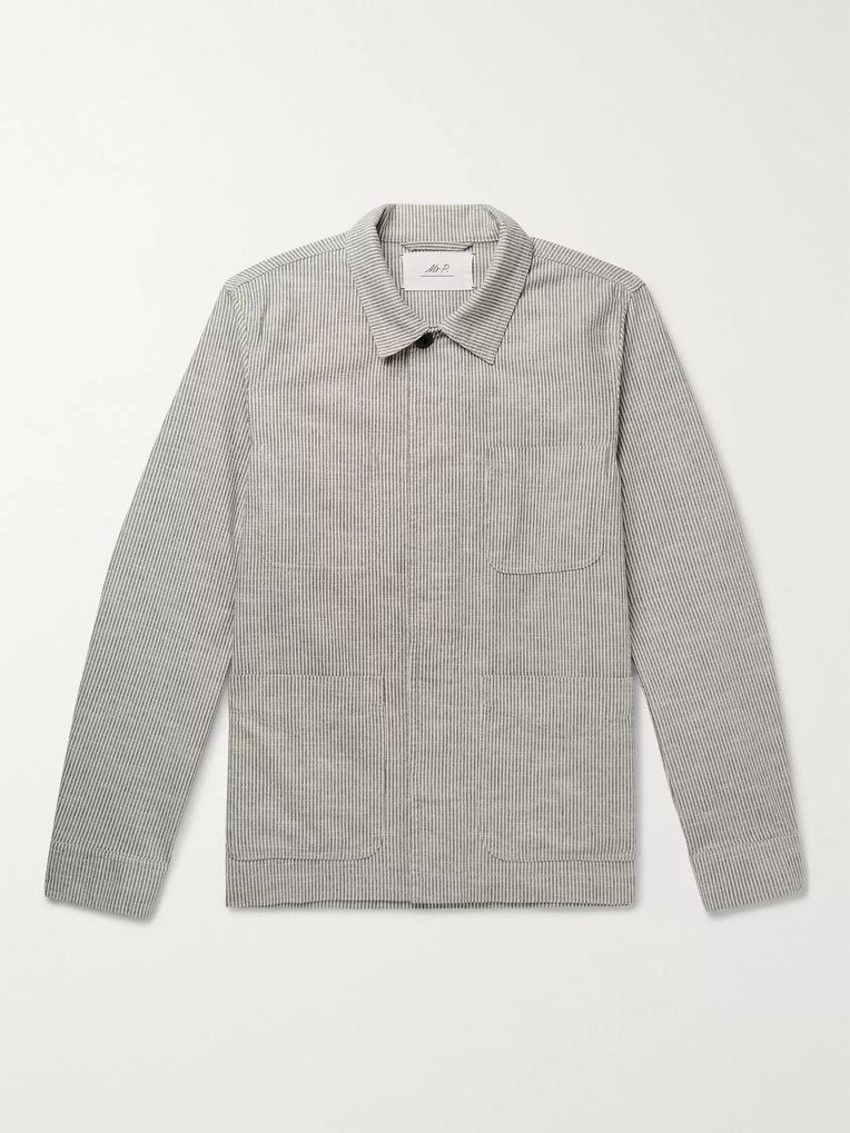 Mr P. Striped Slub Cotton-Blend Chore Jacket