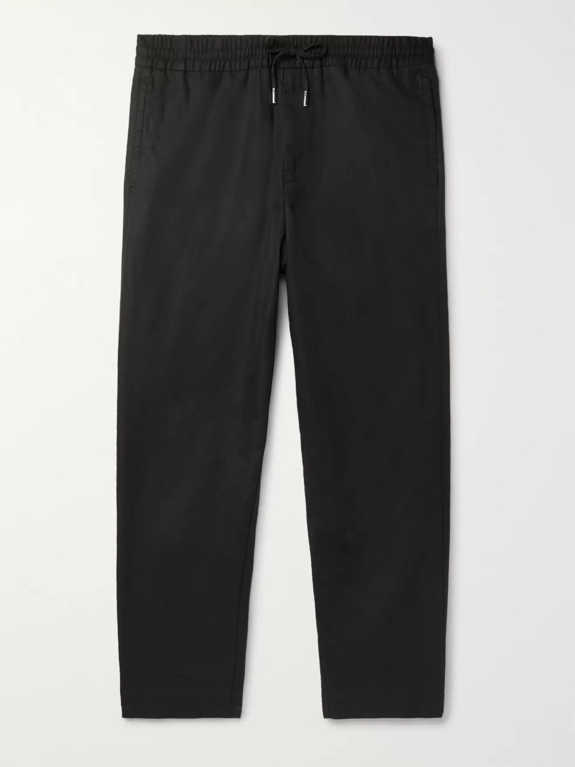 Mr P. Black Slim-Fit Tapered Linen and Cotton-Blend Drawstring Trousers