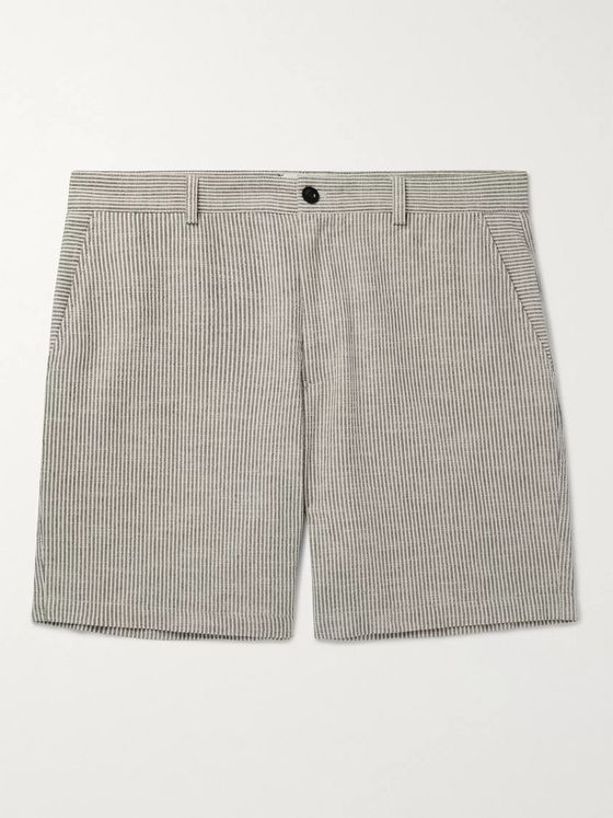 Mr P. Striped Slub Cotton-Blend Bermuda Shorts