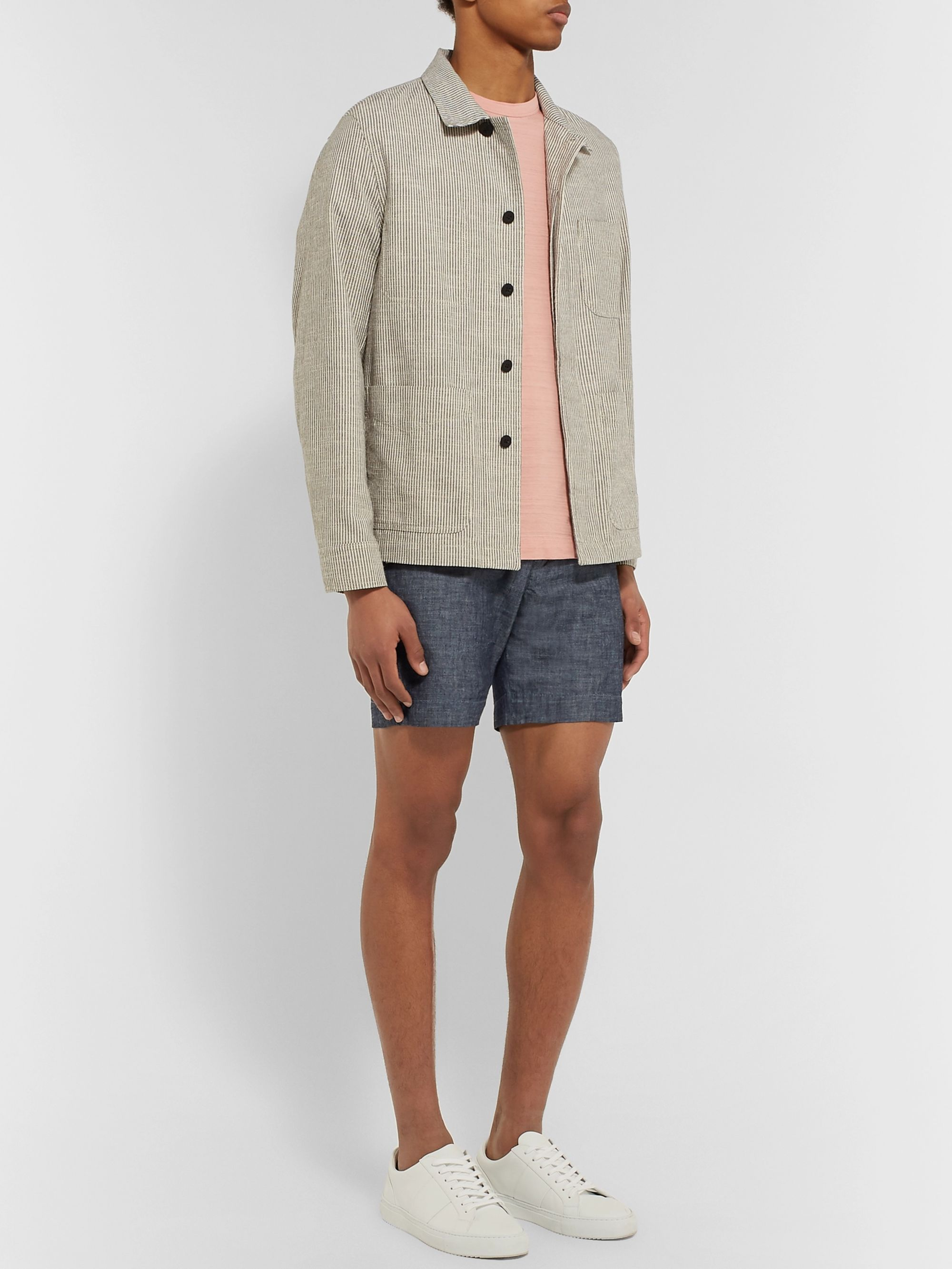 Mr P. Slim-Fit Selvedge Cotton-Chambray Shorts