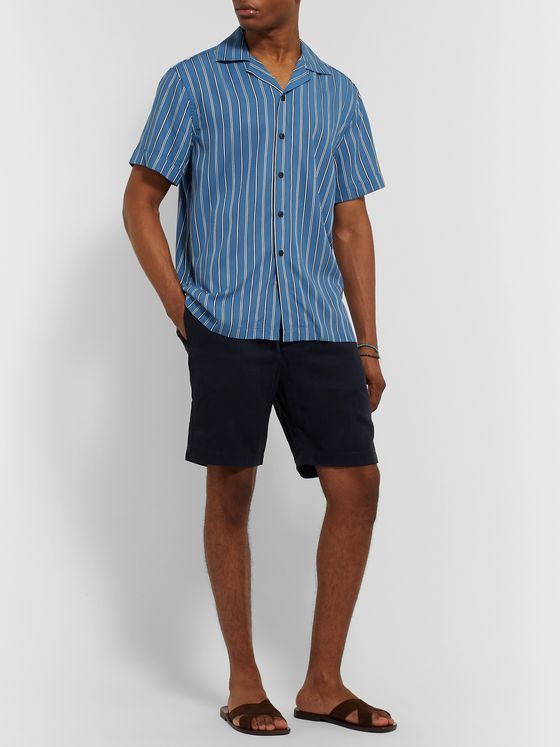 Frescobol Carioca Camp-Collar Striped Tencel Shirt