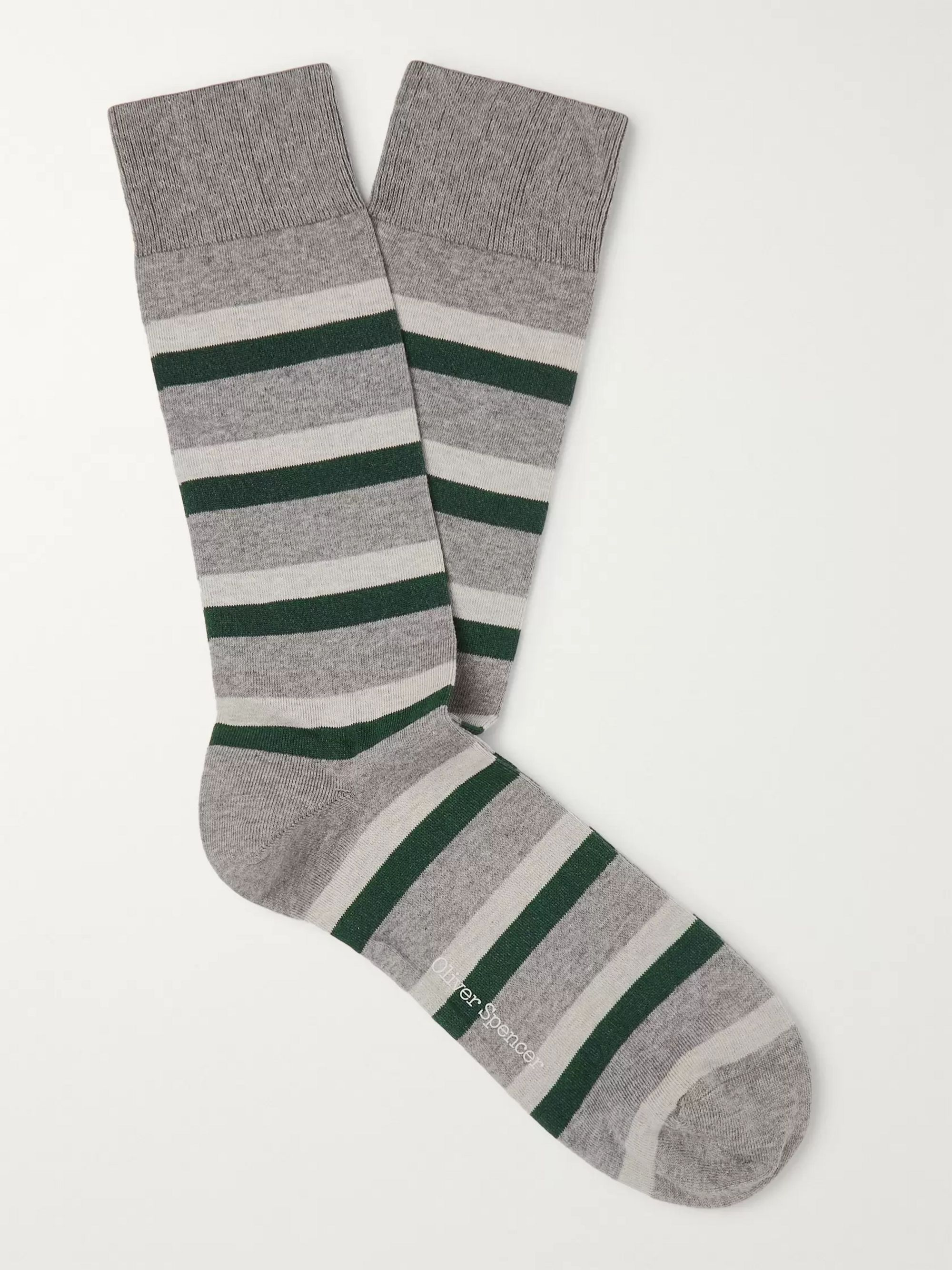 Oliver Spencer Loungewear Striped Cotton-Blend Socks