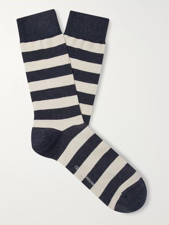 Oliver Spencer Loungewear Byram Striped Stretch Cotton-Blend Socks