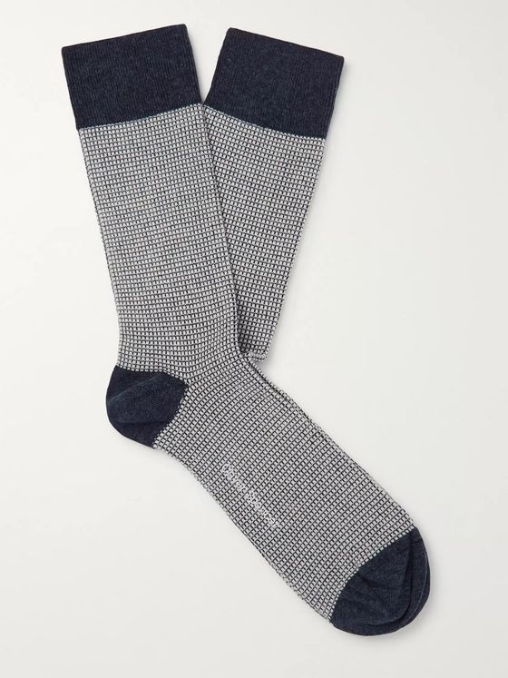 Oliver Spencer Loungewear Miller Stretch Cotton-Blend Jacquard Socks