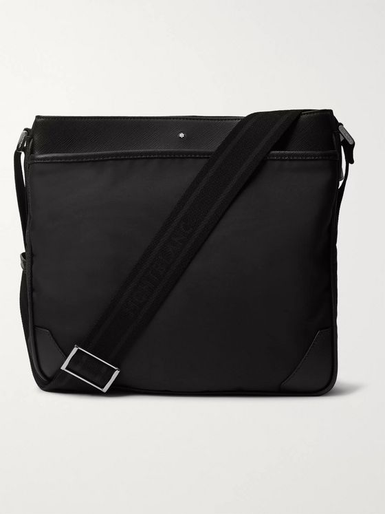 Montblanc Sartorial Textured Leather-Trimmed Shell Messenger Bag