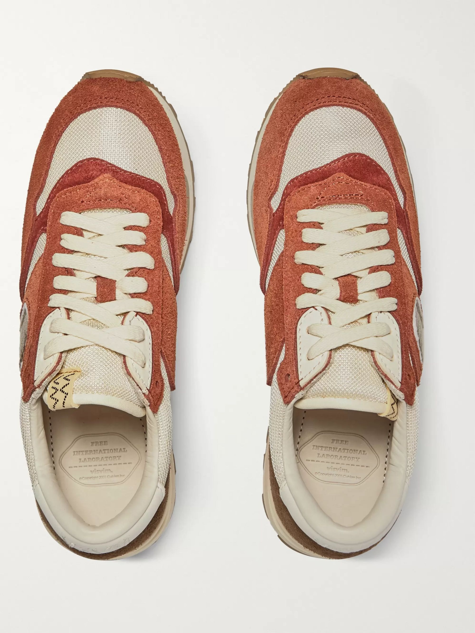 visvim Roland Leather-Trimmed Suede and Mesh Sneakers