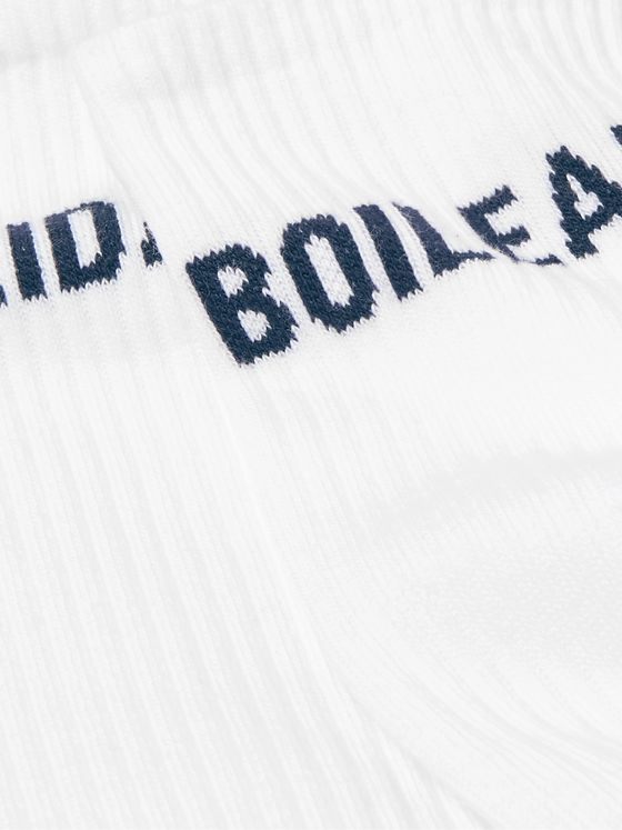 Holiday Boileau Logo-Intarsia Ribbed Cotton-Blend Socks