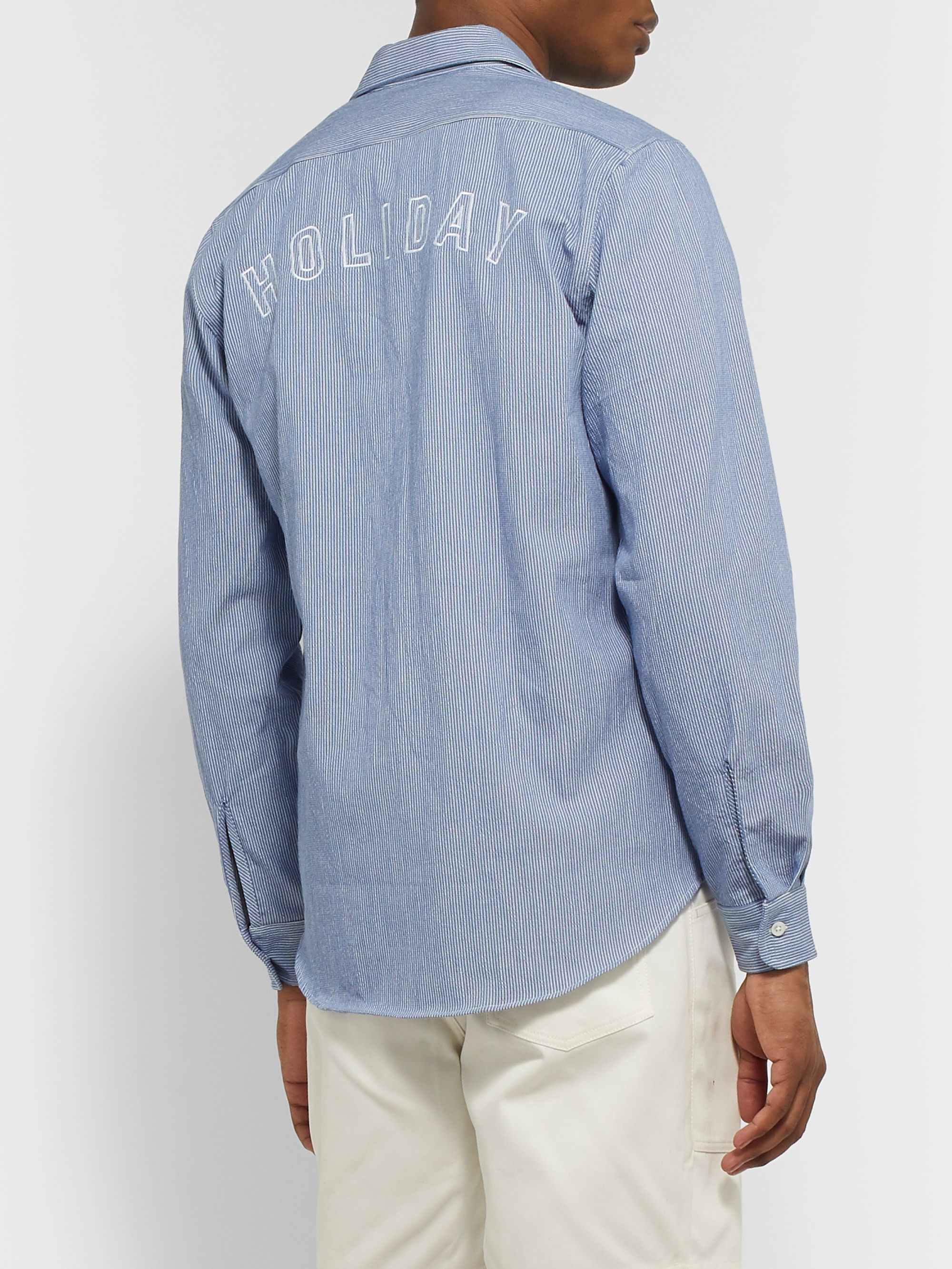 Holiday Boileau Logo-Embroidered Pinstriped Cotton Shirt