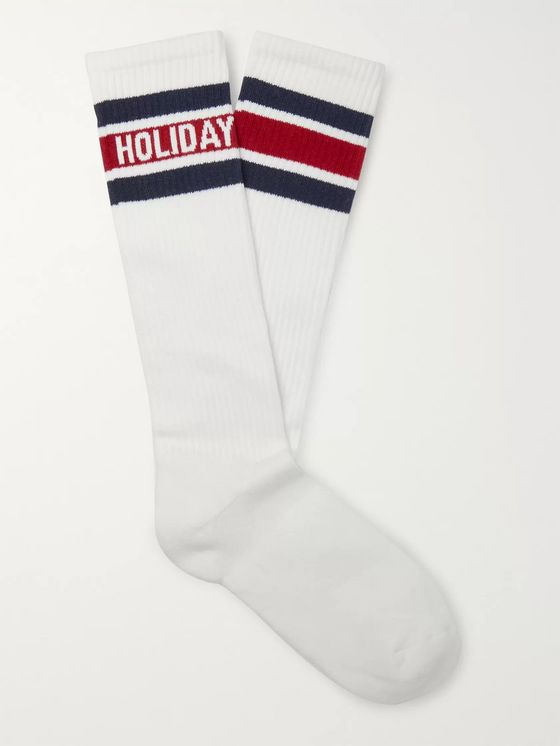 Holiday Boileau Striped Logo-Intarsia Cotton-Blend Socks