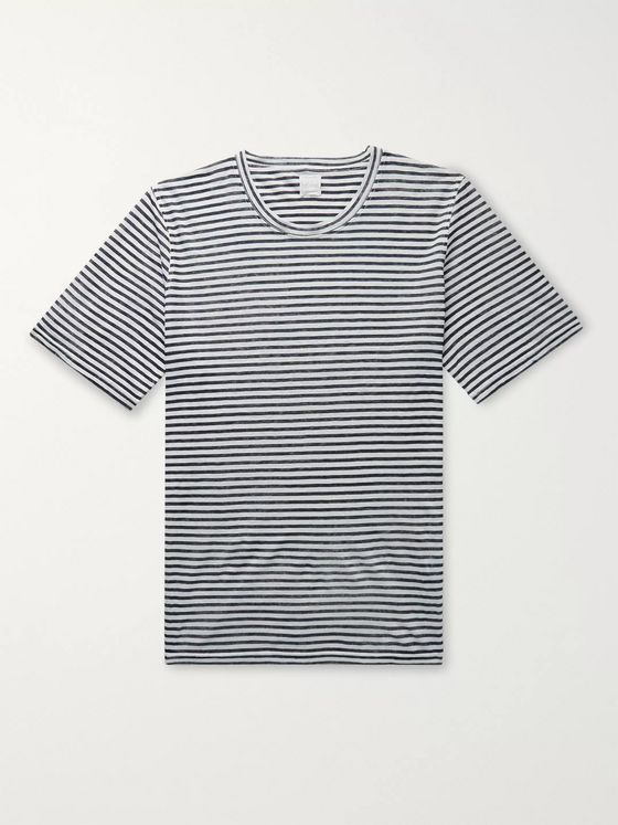 120% Slim-Fit Striped Linen T-Shirt
