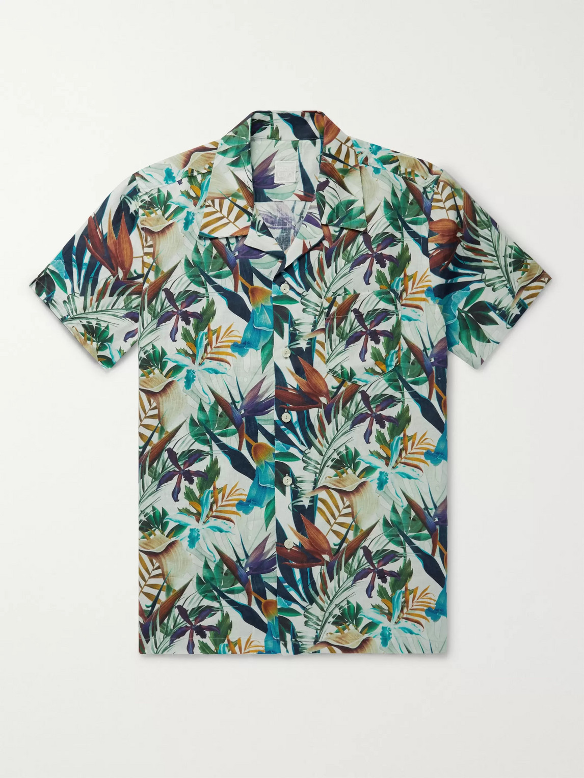120% Camp-collar Floral-print Linen Shirt In Multi