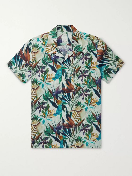 120% Camp-Collar Floral-Print Linen Shirt