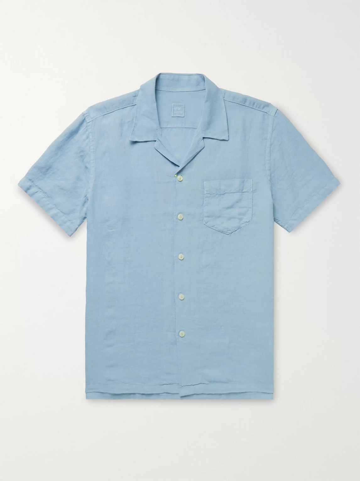 120% Camp-collar Linen Shirt In Blue