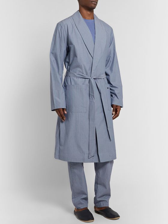 Hanro Striped Mercerised Cotton-Chambray Robe