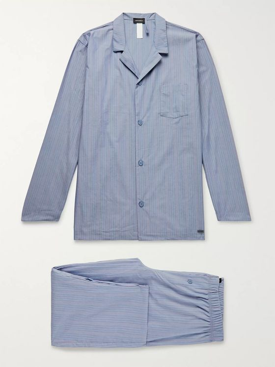 Hanro Striped Mercerised Cotton-Chambray Pyjama Set