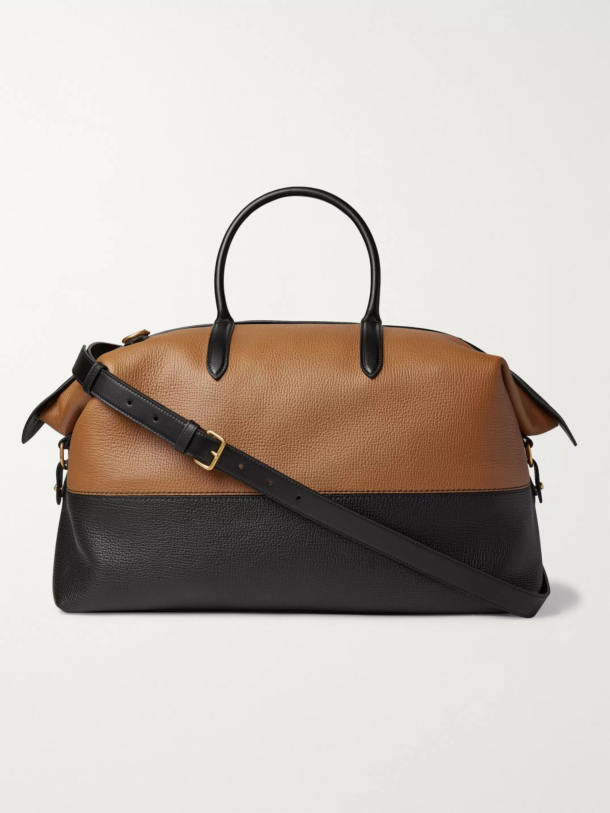 Smythson Colour-Block Full-Grain Leather Holdall