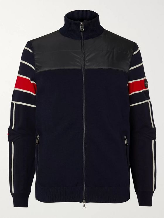 Bogner Henrik Striped Virgin Wool-Blend and Quilted Shell Jacket
