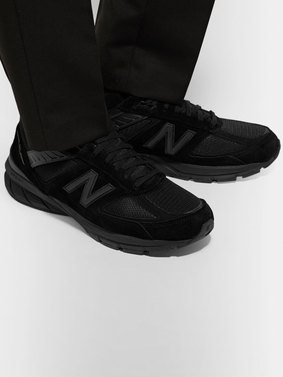 New Balance M990v5 Rubber-Trimmed Suede and Mesh Running Sneakers