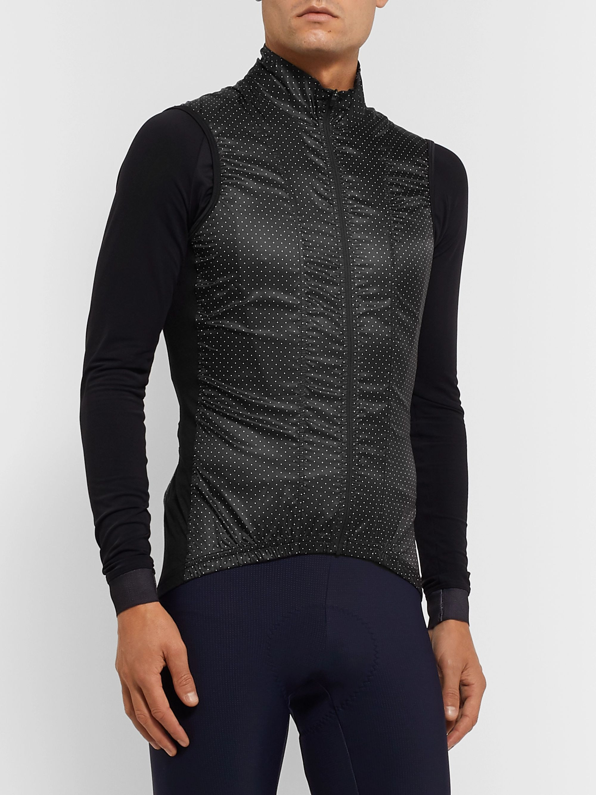 Cafe du Cycliste Mesh-Panelled Polka-Dot Shell Cycling Gilet