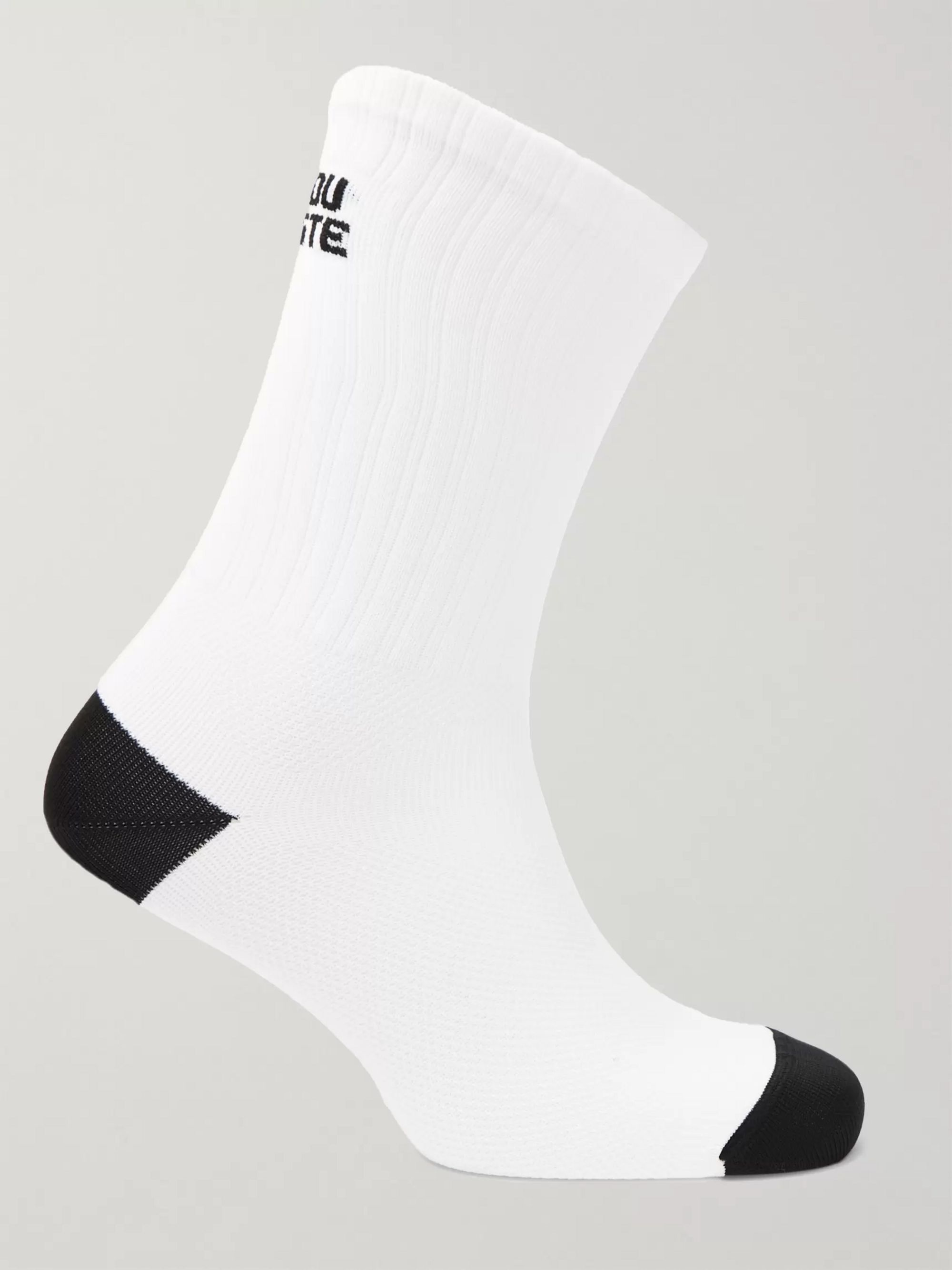 Cafe du Cycliste Logo-Jacquard Stretch-Knit Cycling Socks