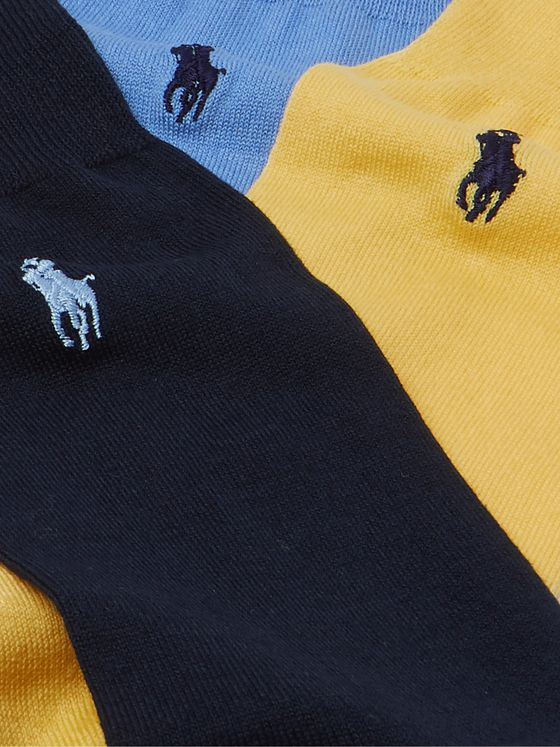 Polo Ralph Lauren Three-Pack Logo-Embroidered Mercerised Cotton-Blend Socks