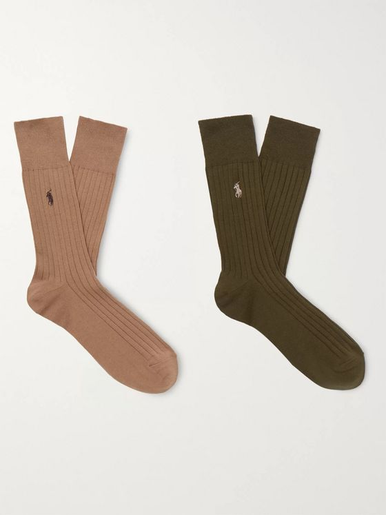 Polo Ralph Lauren Two-Pack Logo-Embroidered Cotton-Blend Socks