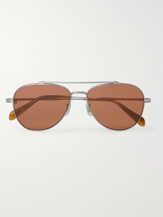 Oliver Peoples Rikson Aviator-Style Gold-Tone Titanium and Tortoiseshell Acetate Sunglasses