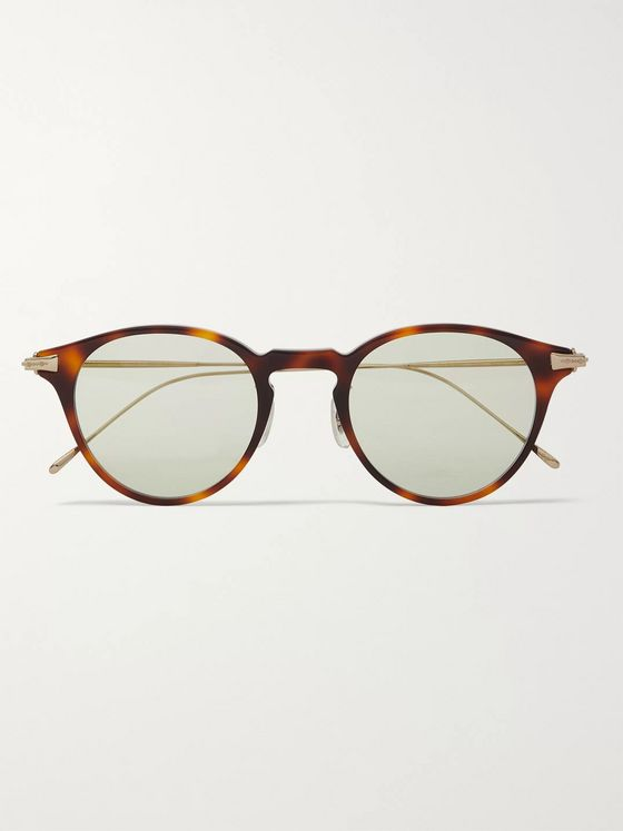 Oliver Peoples Eldon Round-Frame Tortoiseshell Acetate and Gold-Tone Titanium Sunglasses