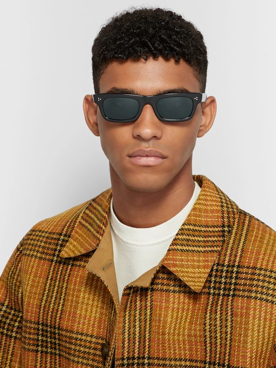 Oliver Peoples Jaye Rectangle-Frame Acetate Polarised Sunglasses
