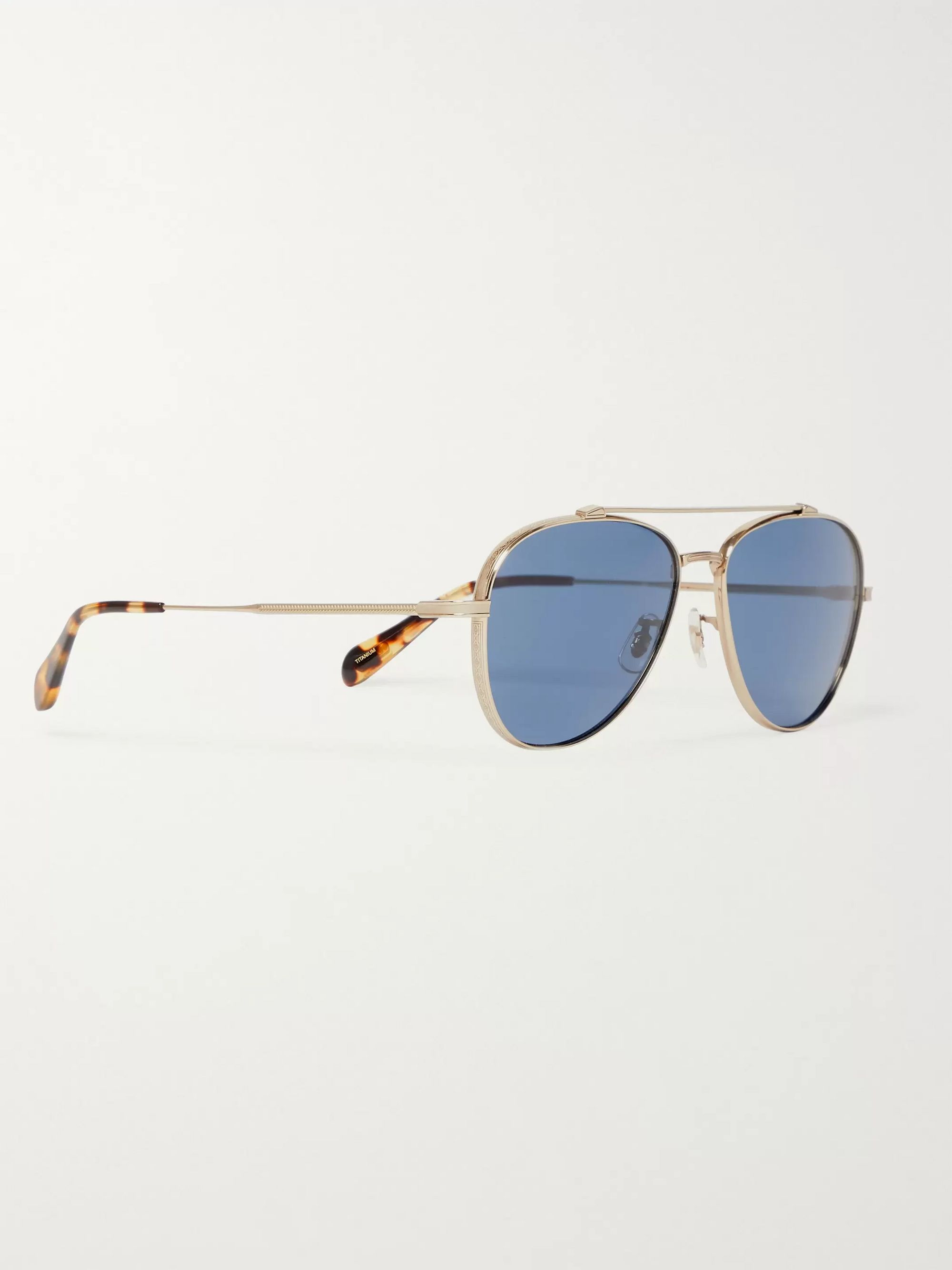 Oliver Peoples Rikson Aviator-Style Silver-Tone Titanium and Tortoiseshell Acetate Sunglasses
