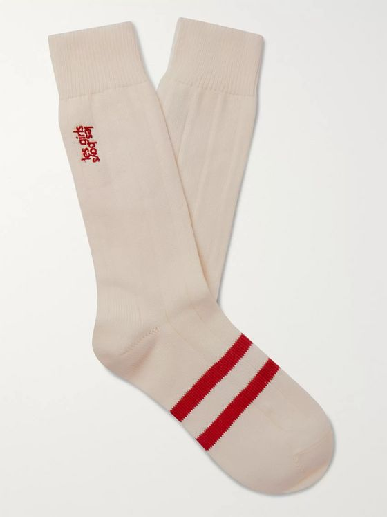 Les Girls Les Boys Logo-Embroidered Striped Cotton-Blend Socks