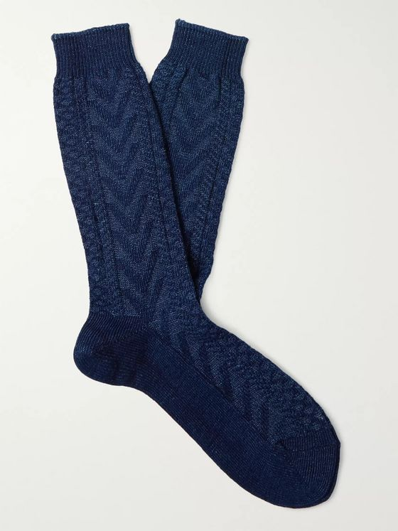 ANONYMOUS ISM Herringbone Cotton-Blend Socks
