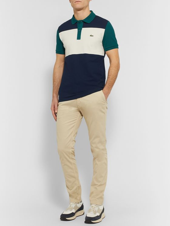 Lacoste Logo-Appliquéd Colour-Block Stretch-Cotton Piqué Polo Shirt