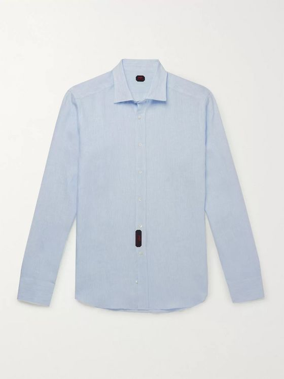 MP Massimo Piombo Slim-Fit Pinstriped Linen Shirt