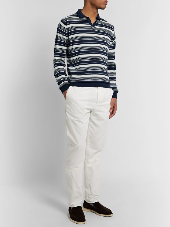 Peter Millar Spring Sails Striped Merino Wool, Silk and Linen-Blend Polo Shirt