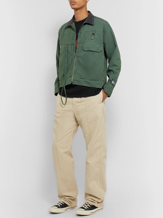 Reese Cooper® Cotton Corduroy-Trimmed Brushed Cotton-Canvas Jacket