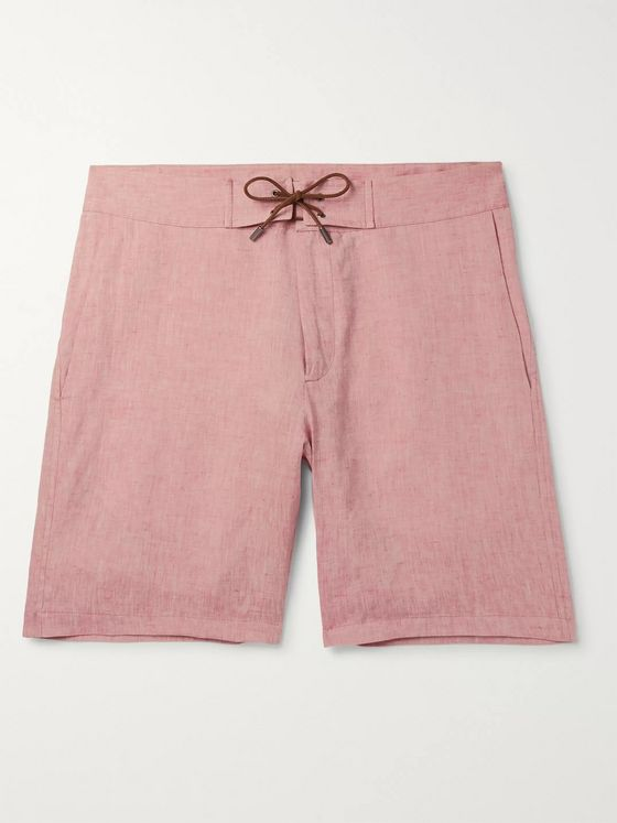 Sease Sunset Suede-Trimmed Linen Shorts