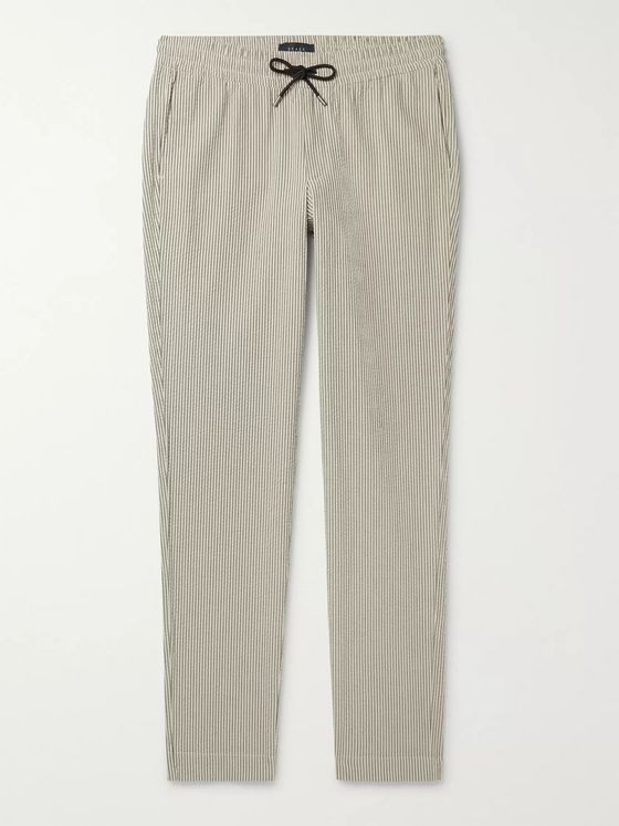 Sease Striped Cotton-Seersucker Drawstring Trousers