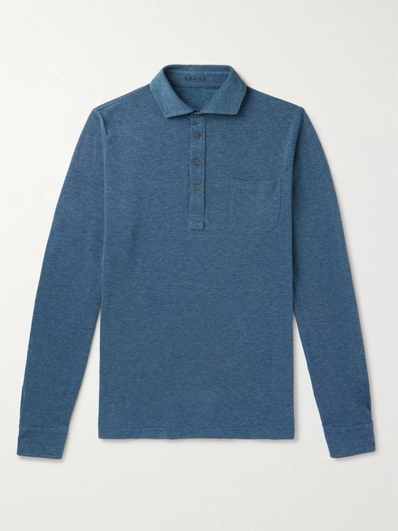 Sease Mélange Cotton-Piqué Polo Shirt