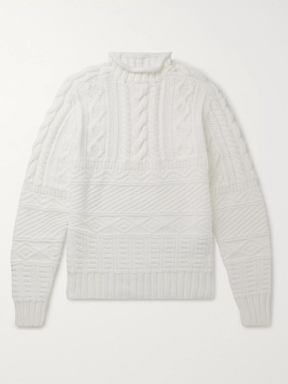 Ralph Lauren Purple Label Cable-Knit Cotton-Blend Sweater