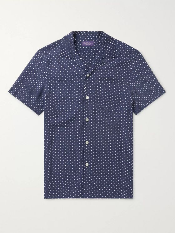 Ralph Lauren Purple Label Camp-Collar Polka-Dot Tencel Shirt