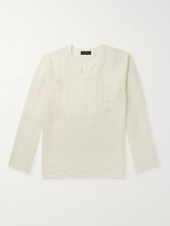 Sease Crinkled Linen-Jacquard Shirt