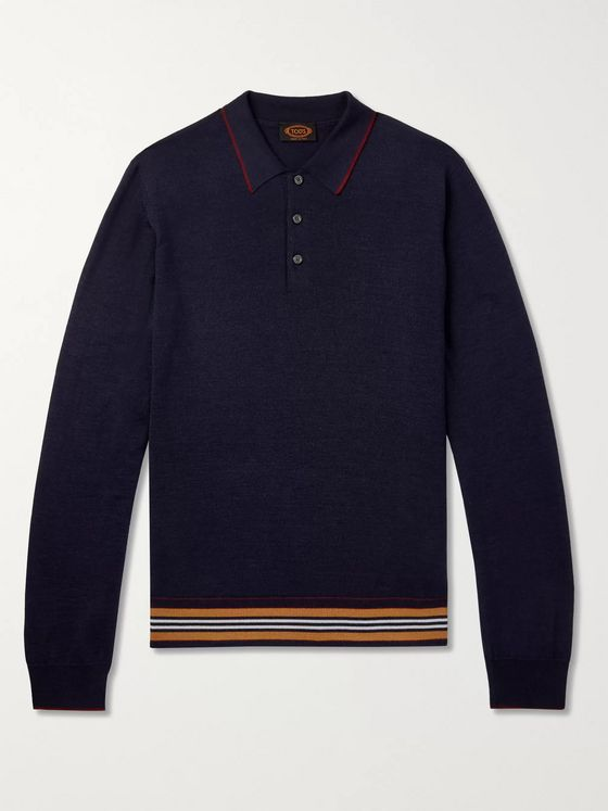 Tod's Slim-Fit Striped Merino Wool and Silk-Blend Polo Shirt