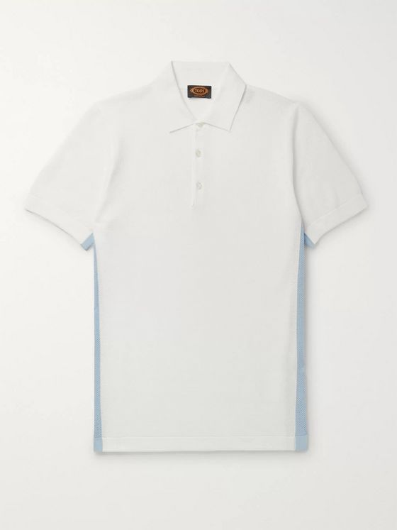 Tod's Striped Cotton-Piqué Polo Shirt